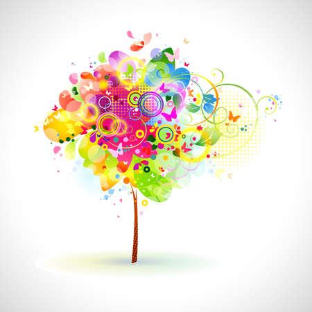 agosto: composizione estate con albero multicolor
