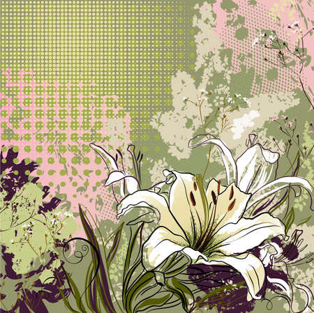 greetingcard: grunge greeting-card with decorative white lilies