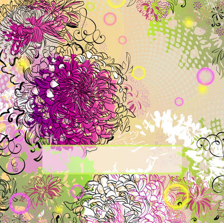 greetingcard: grunge greeting-card with decorative chrysanthemums