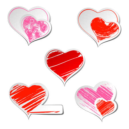 Set of five hearts sticker  Vector