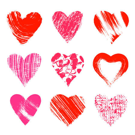 Set of nine artistic hearts Vector