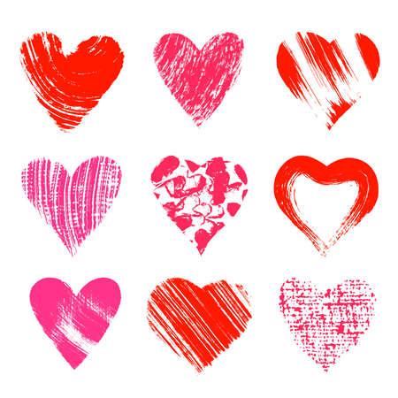 lipstick brush: Set of nine artistic hearts