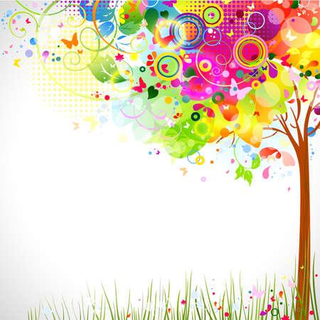 マルチカラーのツリーと夏組成  イラスト・ベクター素材