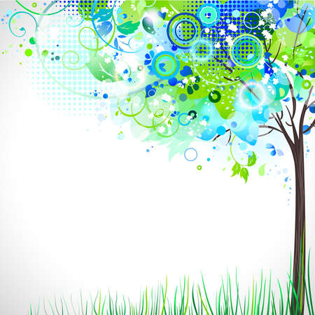 spring composition with tender tree  Vector