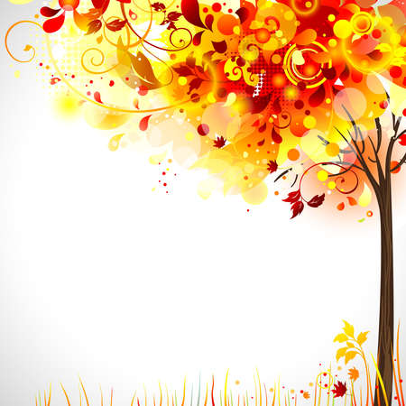 calendar background: autumn composition with bright tree