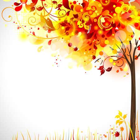 calendario noviembre: composición otoño con el árbol brillante