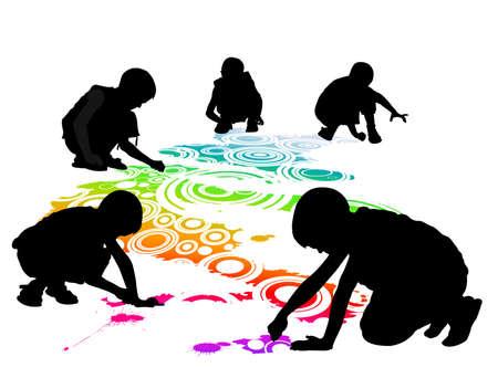 dessin enfants: les enfants dessinent sur le sol à la craie Illustration