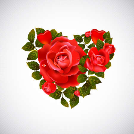 roses and hearts: big heart with red flowering roses