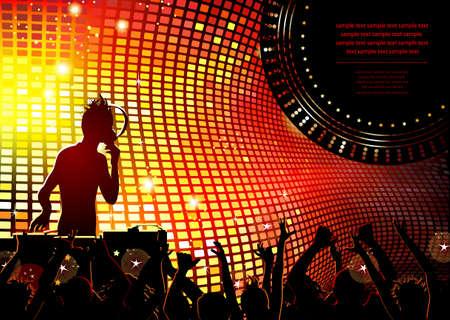 clubbing: festive party in the nightclub with DJ
