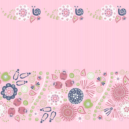 blended: seamless ornament of bright decorative flowers
