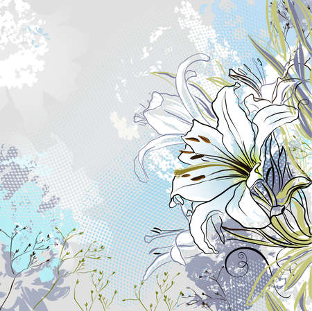 mixed flower bouquet: grunge greeting-card with decorative white lilies