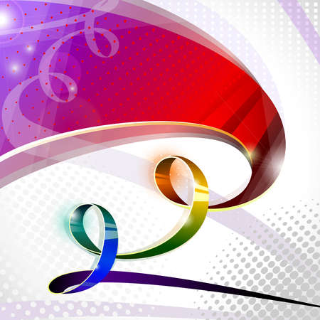 spectral iridescent ribbon on abstract background  Vector