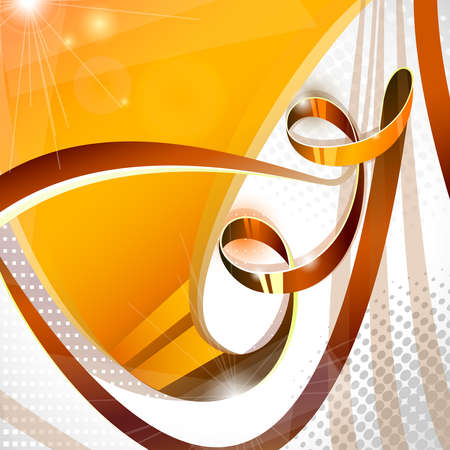 yellow ribbon: Brown iridescent ribbon on abstract background