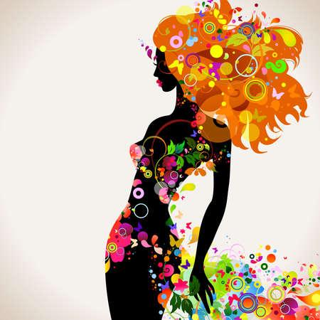 donna farfalla: Estate composizione decorativa con ragazza Vettoriali