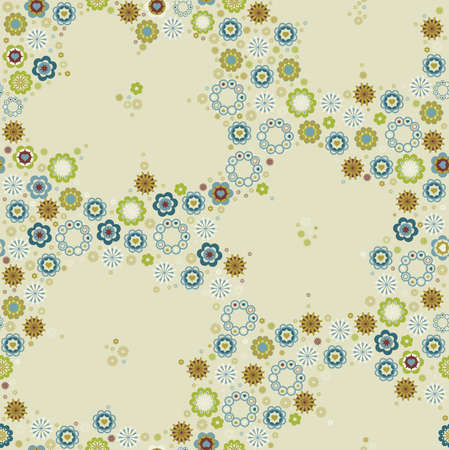 mixed wallpaper: seamless ornament of decorative flowers