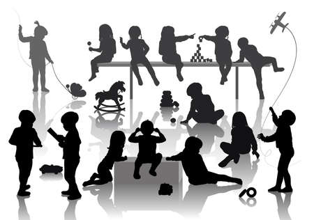 14 children playing with some deferent toys  Vector