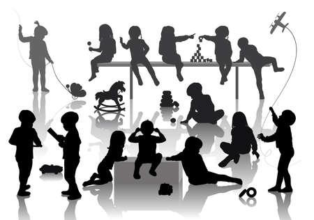persona sentada: 14 ni�os jugando con algunos juguetes deferentes Vectores