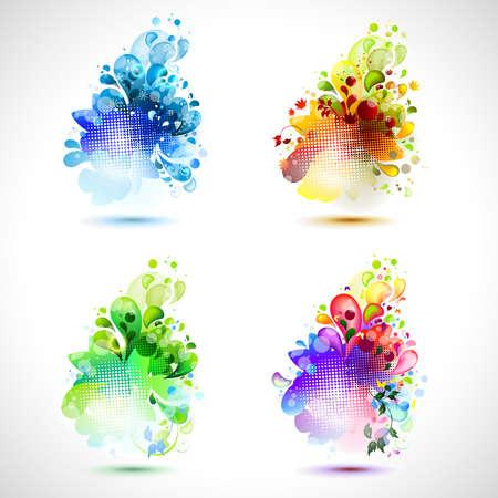 Set of four season icons  Illustration