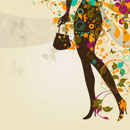 行き: 少女の足と袋と装飾的組成物  イラスト・ベクター素材