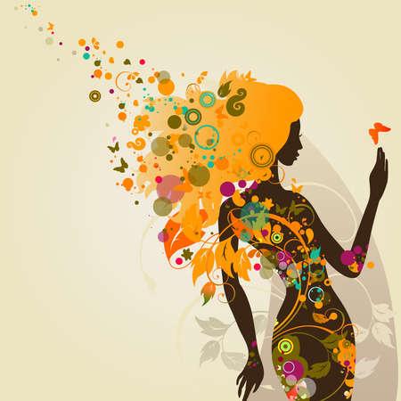 transparent dress: decorative composition with girl  Illustration