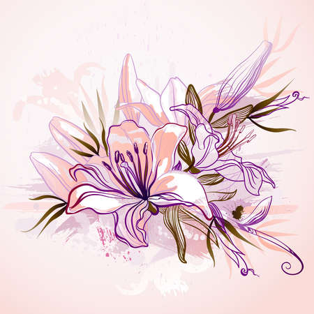 pink lily: decorative composition with big drawing lilies