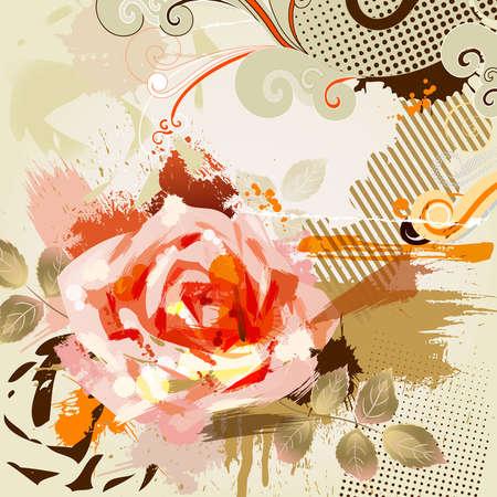 decorative composition with big grunge rose  Иллюстрация