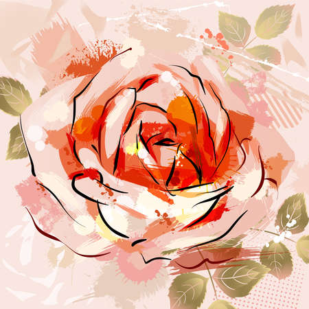 mixed wallpaper: decorative composition with big grunge rose  Illustration