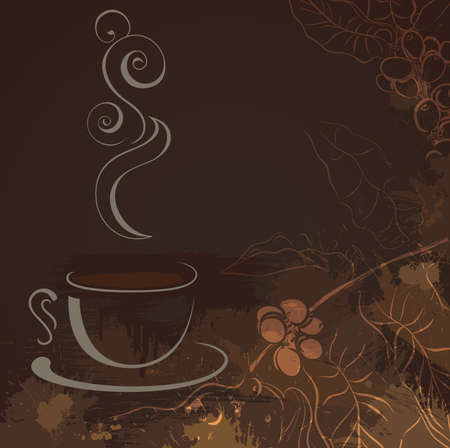 steam of a leaf: cup of hot black coffee  Illustration