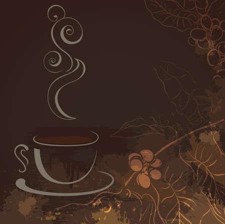 planta de cafe: taza de café negro caliente