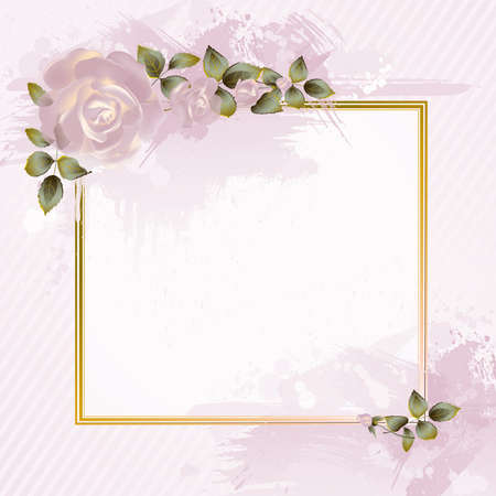 tender greeting-card with pink roses  Vector