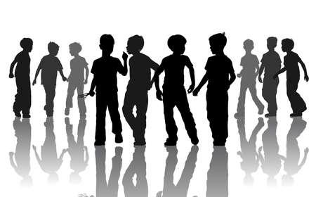 Empresa de diez jóvenes amigos que van Ilustración de vector