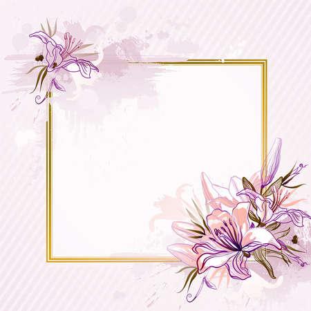 round corner: pink background with lilies