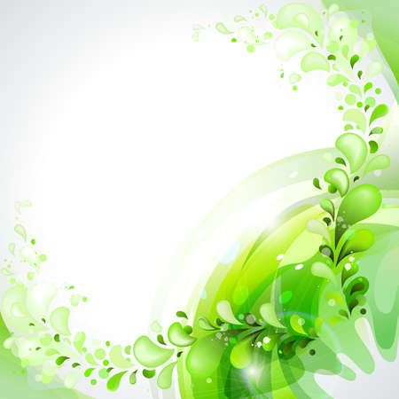 Green branch with abstract leaves Vector