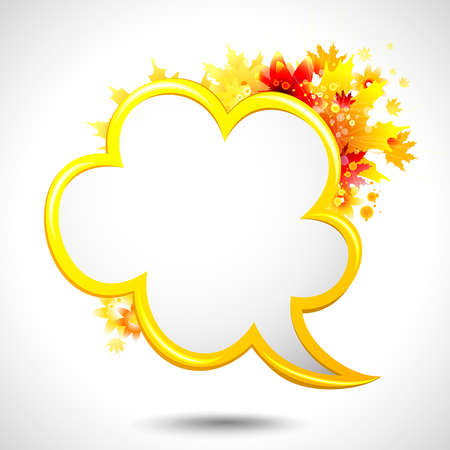 abstract autumn composition with speech bubble  Vector