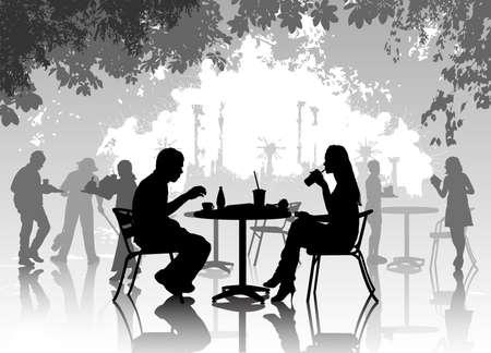 donna seduta sedia: Cafe Street, con persone di riposo Vettoriali