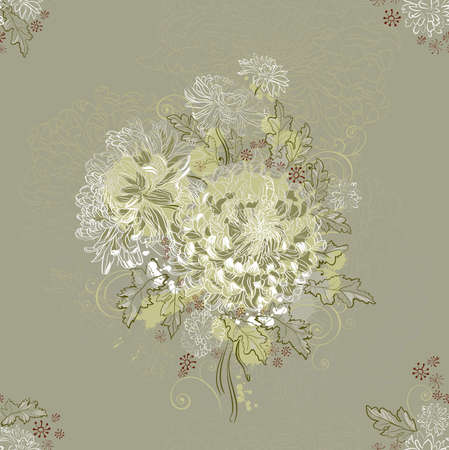 seamless ornament with bouquets of chrysanthemums  Vector