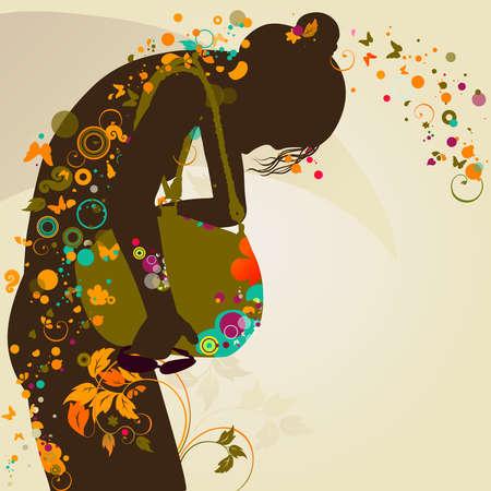 bending: girl looking for something in her bag  Illustration