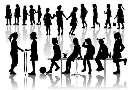 schulm�dchen: Nineteen Silhouetten von spielenden M�dchen Illustration