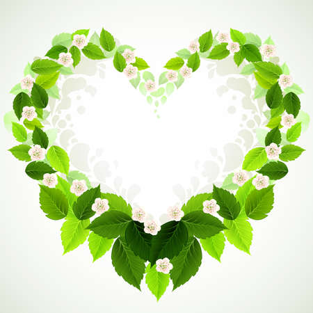 clean heart: frame with fresh green leaves and floral