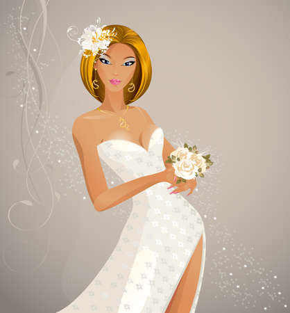veil: Beautiful fashion bride with festive bouquet