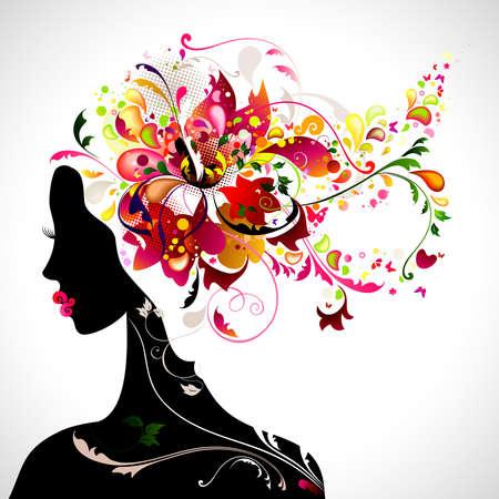 女の子と装飾的組成物
