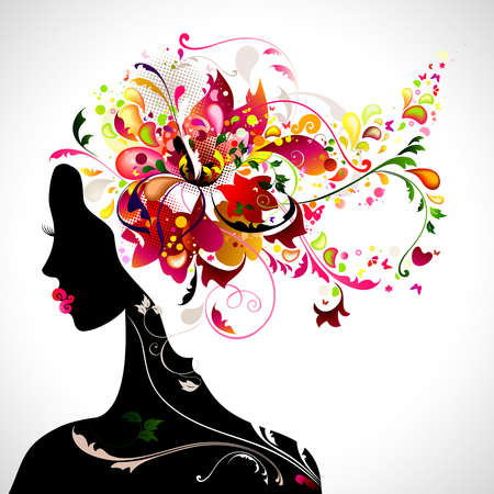 hair black color: decorative composition with girl  Illustration