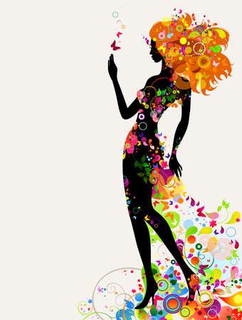 femme papillon: Composition d�corative d'�t� avec une fille Illustration