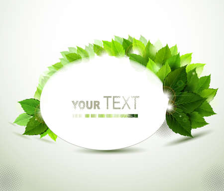 oval frame with fresh green leaves  Vector
