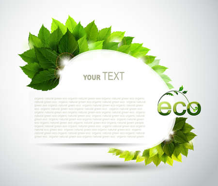 eco: oval frame with fresh green leaves