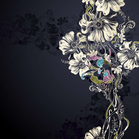 black and white plant: black background with decorative flowers