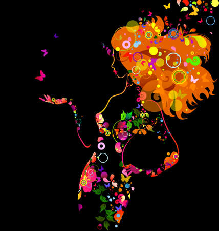 donna farfalla: contrasto composizione decorativa con la ragazza