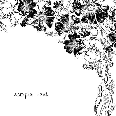 blended: hand drawn decorative flowers