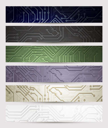 circuitboard: set of six Headers of the digital technologies