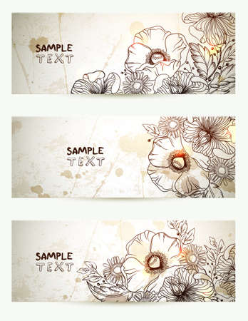 header image: Set of three headers with hand drawn flowers branch  Banners of vintage background   Illustration